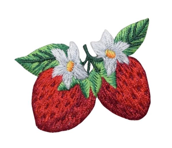 Two Strawberries with White Flower Blossum