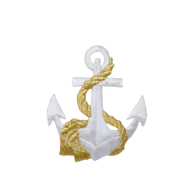 Nautical White Anchor with Gold Rope