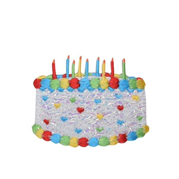 White Confetti Shimmery Birthday Cake with Candles