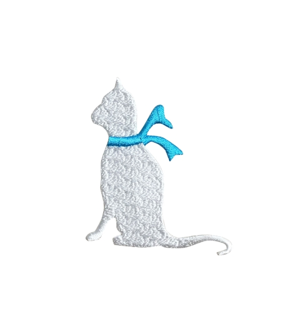 White Cat - Blue Scarf