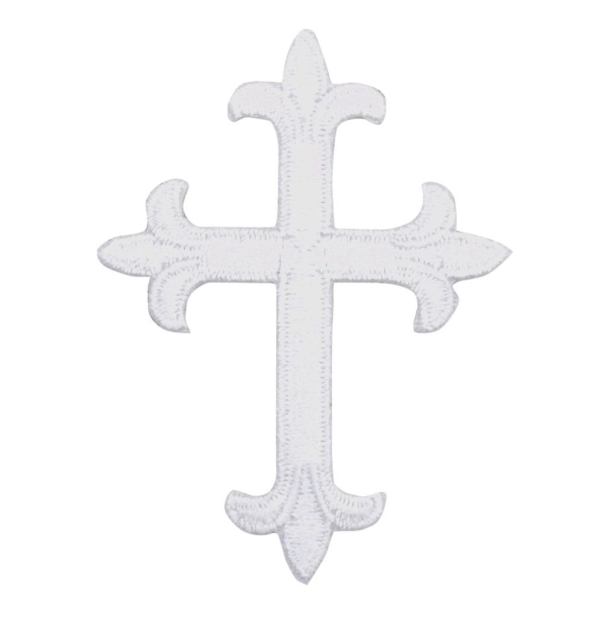 White Fleur De Lis Cross 4