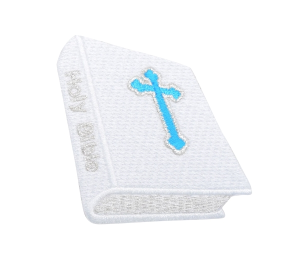 White Holy Bible with Blue Cross Religious