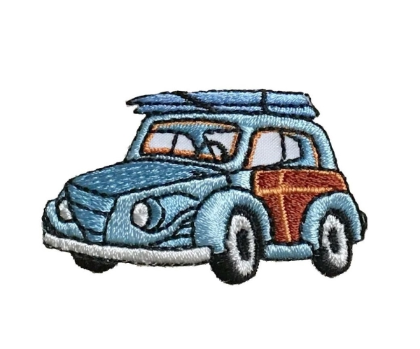 Blue Woodie With Surfboard