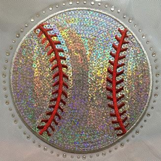 Silver and Red Baseball Sequin and Rhinestone