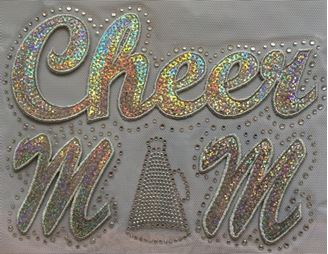 Silver Cheer Mom with Megaphone Sequin and Rhinestone
