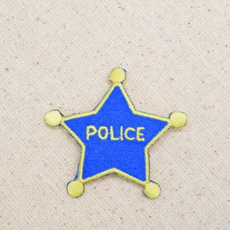 Blue and Yellow Star Police Badge
