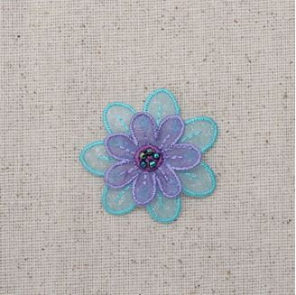 Purple and Turquoise Layered Flower