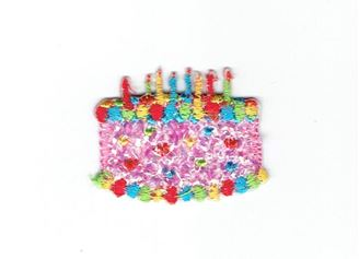 Mini Pink Confetti Shimmery Birthday Cake with Candles