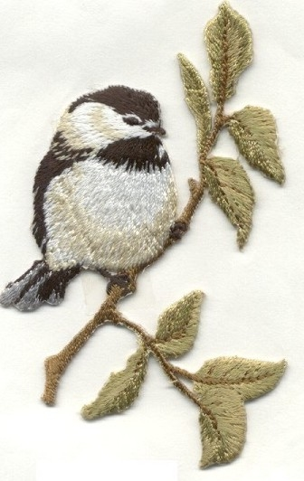 BIRD WHITE & TAN IRON ON BIRD PATCH APPLIQUE 1110197-A
