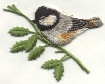 BIRD CHICKADEE IRON ON BIRD PATCH APPLIQUE 119859-A