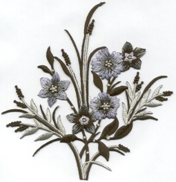 BLACK/GRAY EMBROIDERED FLOWER IRON ON APPLIQUE 611798-A