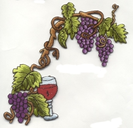 Grape Vine with Wine Glass Iron on Applique