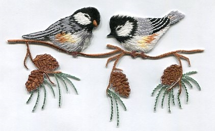CHICKADEE ON A BRANCH IRON ON APPLIQUE 633333-A