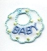 BABY BIB BLUE IRON ON CHILDREN'S PATCH APPLIQUE 695560-A