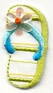 FLIP FLOP LIME GREEN SMALL IRON ON PATCH 696472-AL