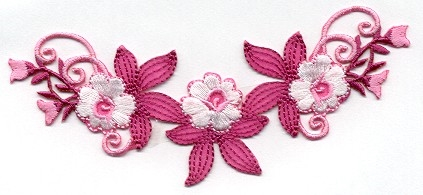 FLOWERS PINK & WHITE IRON ON PATCH APPLIQUE 696701-B