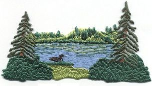 Lake Scene with Loon and Trees