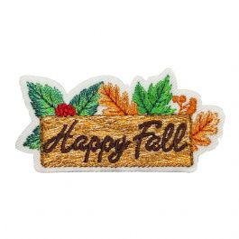 Happy Fall Sign with Leaves