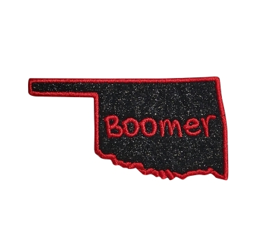Oklahoma Boomer - Black Glitter/Red Outline