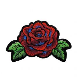Red Rose with Blue Accents