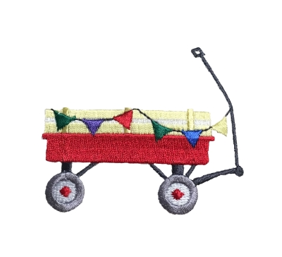 Red Wagon With Flags