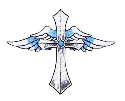 Cross - Angel Wings - Blue/White