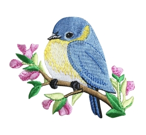 BLUEBIRD ON BRANCH IRON ON PATCH 697184-A