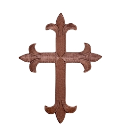 Chocolate Brown Fleur de Lis Religious Cross