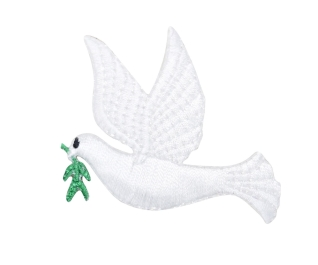 White Peace Dove with Olive Branch Facing Left