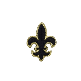 FLEUR DE LIS BLACK & GOLD MEDIUM IRON ON PATCH APPLIQUE 695376-A