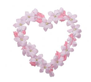 FLOWER HEART PINK LARGE IRON ON PATCH 694985-A