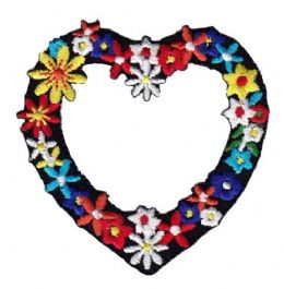 HEART FLOWER IRON ON APPLIQUE 697154-A