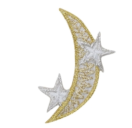 Crescent Moon - Silver and Gold - Stars