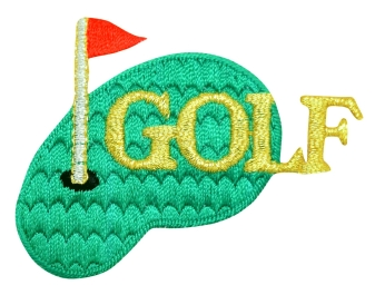 Golf with Green and Red Flag