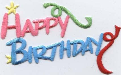 HAPPY BIRTHDAY IRON ON APPLIQUE 694026-A