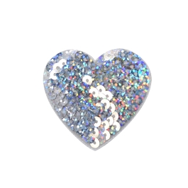 Sequin Heart - Silver