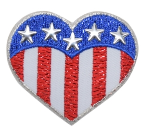 Patriotic Heart with Silver Stars
