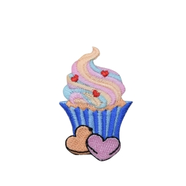 Pink and Blue Cupcake with Sweet Hearts