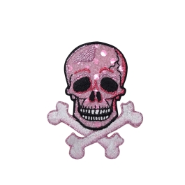 Skull with Crossbones - Pink Shimmery