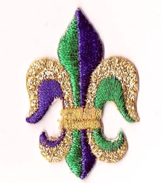 FLEUR DE LIS GREEN & PURPLE LARGE IRON ON PATCH 693987-A