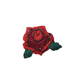 Red Rose with Petals and Leaves
