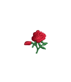 SMALL ROSE WITH BUD IRON ON APPLIQUE 697281-A