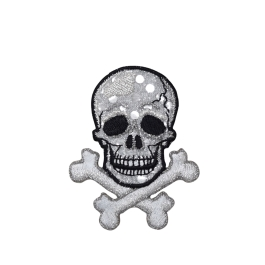 Skull with Crossbones - Silver Shimmery