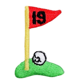 Small 19th Hole Golf Flag on Green