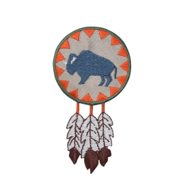 Indian Buffalo Round with Feathers