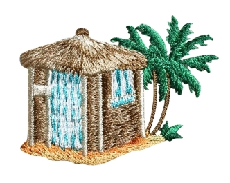 Beach Hut with Palm Trees